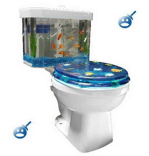 Toilet and fishtank combined
