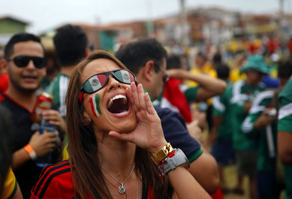 World Cup 2014 - Mexico fans - Excited