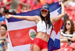 Sport Wallpaper - World Cup 2014 - Costarica fans - Sexy female fan 02