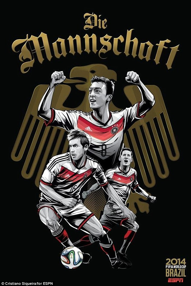World Cup 2014 - Comic Photo: Germany - Mesut Ozil & Lahm & Schweinsteiger