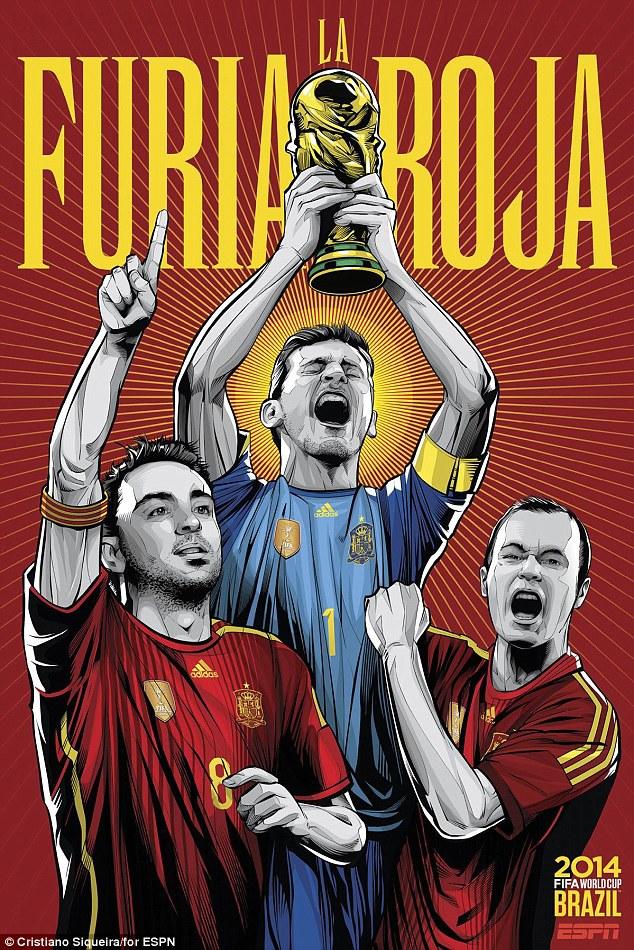World Cup 2014 - Comic Photo: Spain -  Iker Casillas & Xavi & Iniesta
