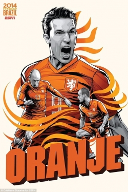 Sport Wallpaper - World Cup 2014 - Comic Photo: Holland -  Van Persie & Arjen Robben & Wesley Sneijder