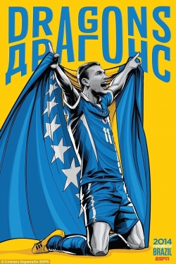 Sport Wallpaper - World Cup 2014 - Comic Photo: Bosnia & Herzegovina - Edin Dzeko