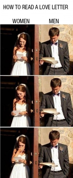 Funny photos - Reading Love Letter