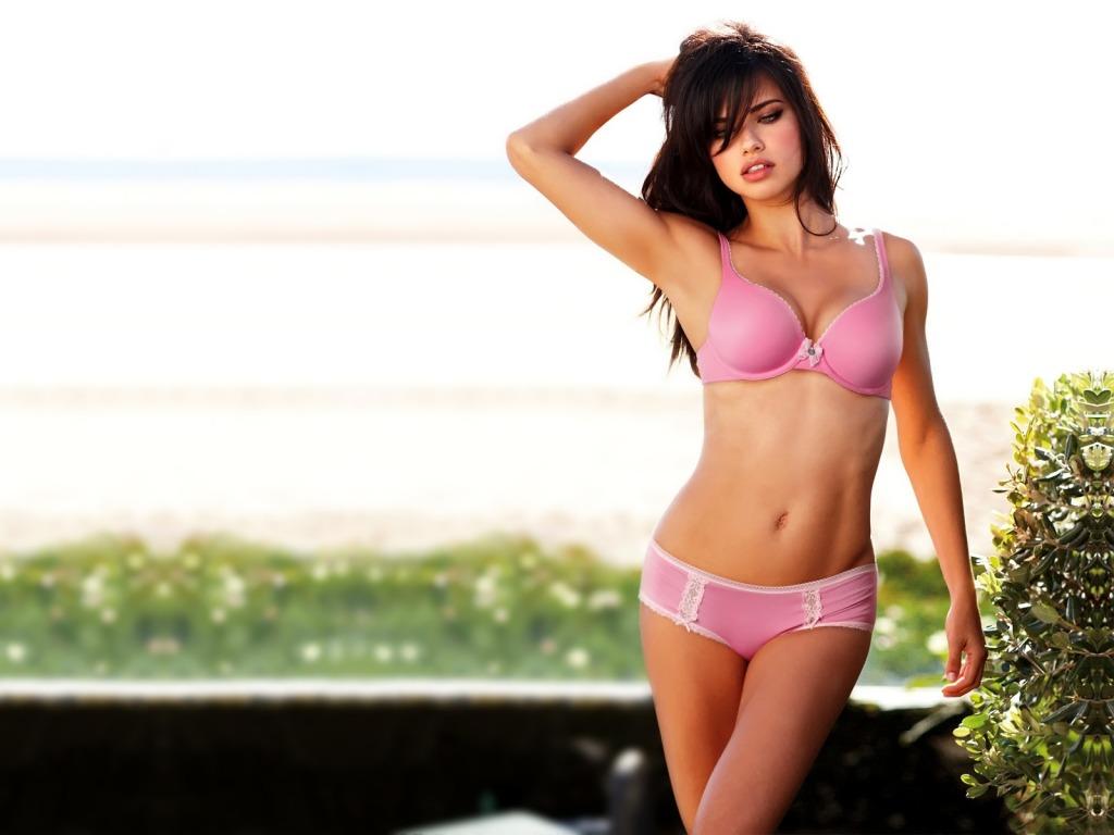 Adriana Lima pink lingerie