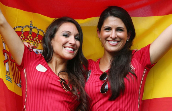 World Cup 2014 - Spain fans - 2 beautiful ladies with the flag