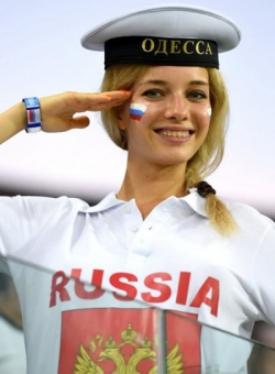 Sport Wallpaper - World Cup 2014 - Russia fans - Beautiful girl