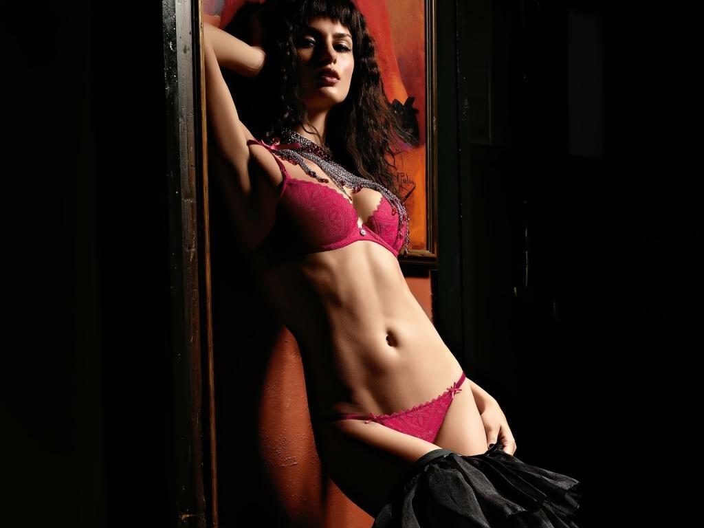 Catrinel Menghia red lingerie