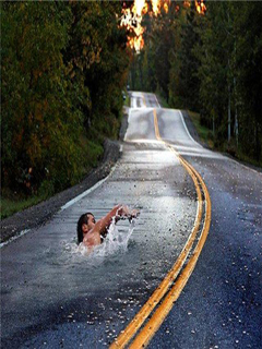 Swimming On Road