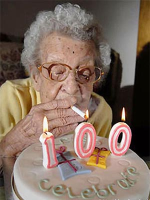 Old lady also smokes!