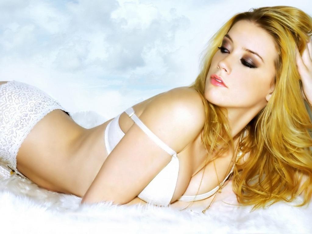 Amber Heard white lingerie
