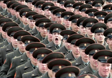 Funny man in army