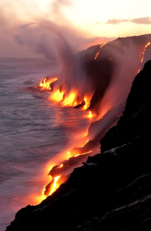Active lava flows touching the ocean