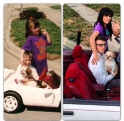 Miscellaneous pictures - Brother, sister, and dog past and now