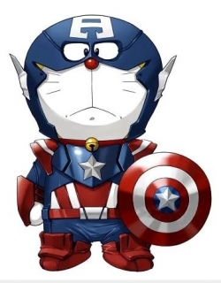 Funny photos - Doremon captain american