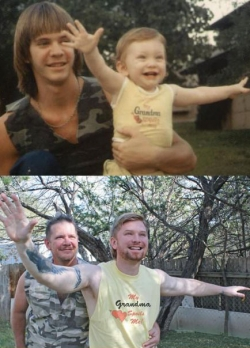 Funny photos - Father and son 27 years later.