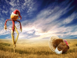 Christmas Wallpaper - Funny christmas scarecrow