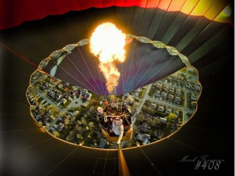 View from inside a hot air balloon.
