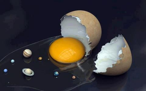 The solar system in a egg