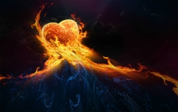 3D and Digital art Wallpaper - Love on fire