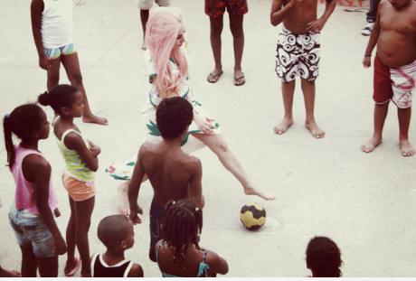 Lady Gaga playing football