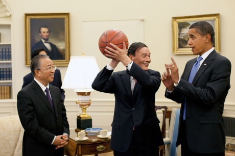 President Obama teaching Chinese Vice Premier basketball