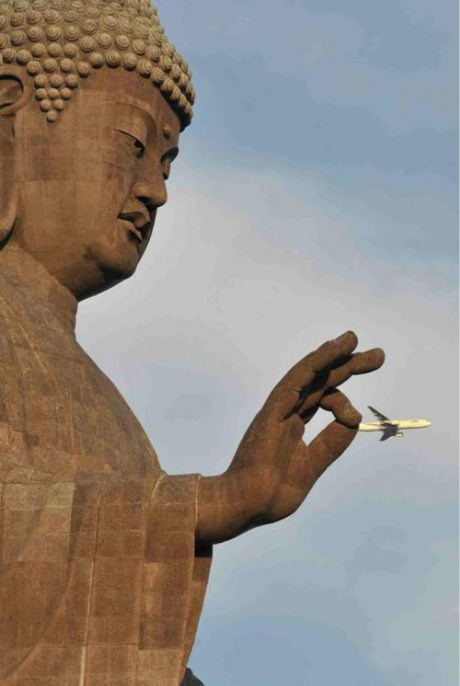 Statue and plane