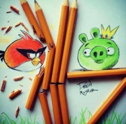 Game Wallpaper - Angry birds with real impediment