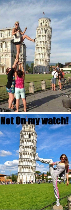 Funny photos - Pisa Tower Guard
