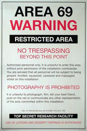 Area 69 warning