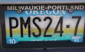 PMS license plate