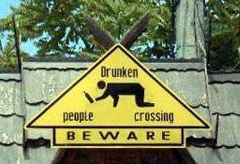 Drunken people crossing
