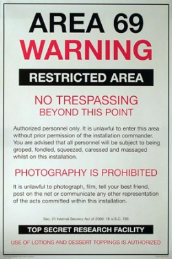 Funny photos - Area 69 warning