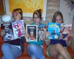 Funny photos - Woman reads playboy