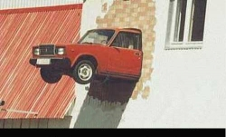Funny photos - Lada car in wall