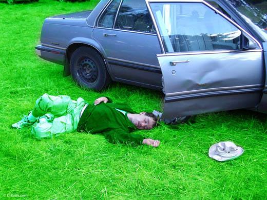 Sleeping on grass