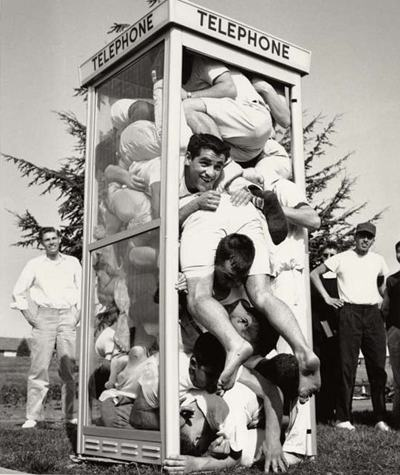 Crowded phone booth