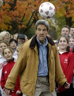 John Kerry plays soccer