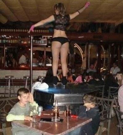 Kids at strip club