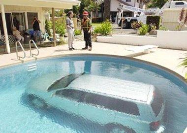 Minivan in pool