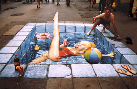 Side walk swimming pool
