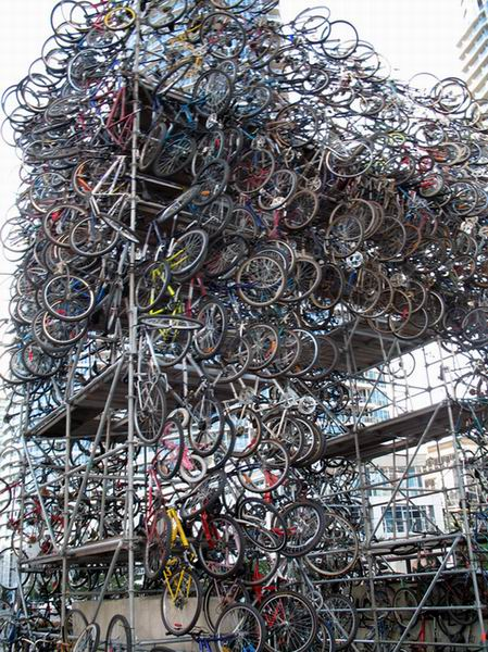 The mountain of bicycle