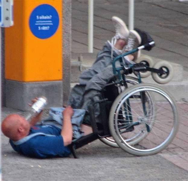 Drunk on wheelchair