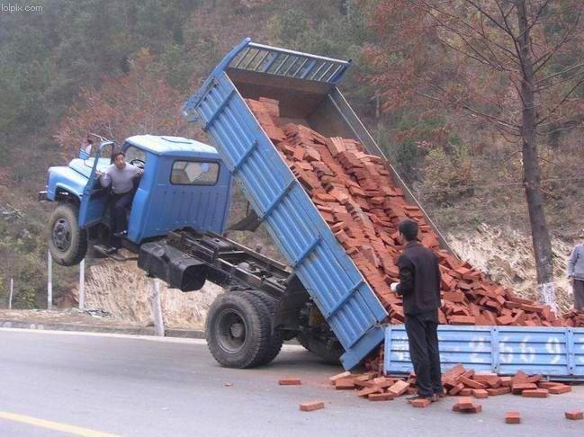 Upturned truck