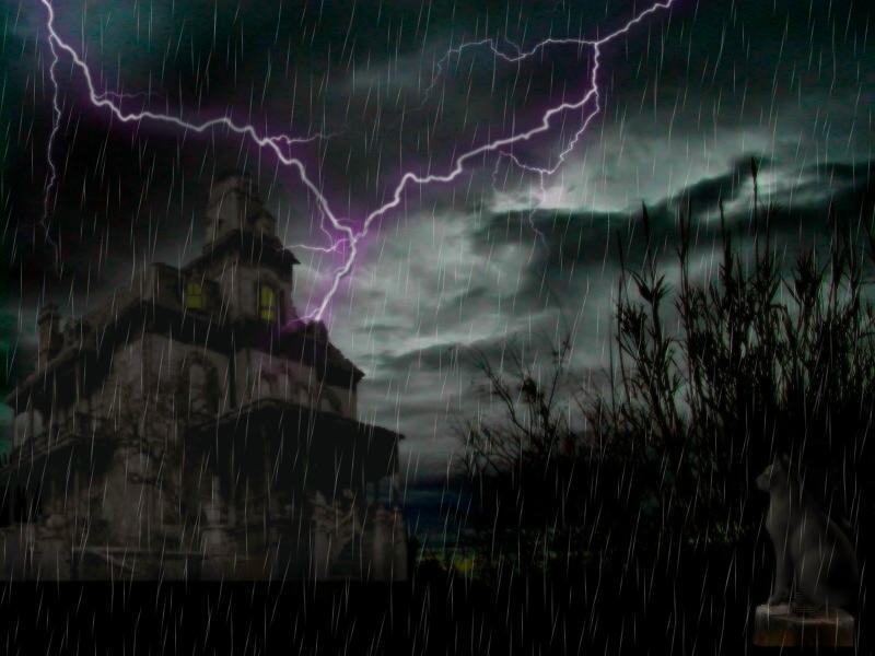 Castle under lightning
