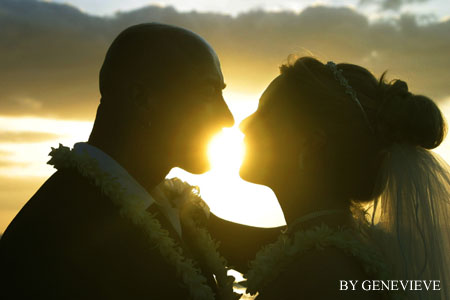 Kiss under sunset