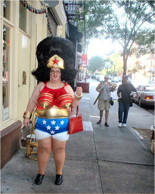 Funny halloween costume of woman