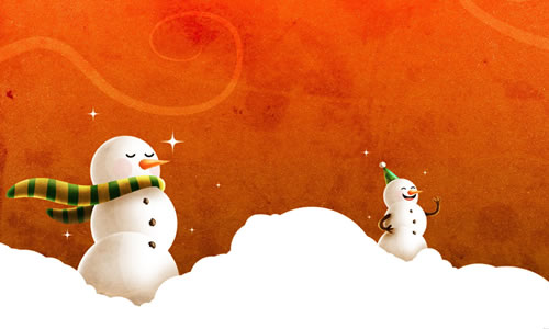 Orange snow man