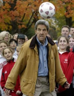 Celebrity photos - John Kerry plays soccer