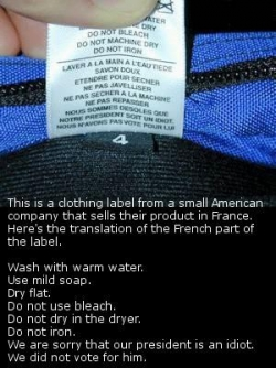 Funny photos - Political clothing label